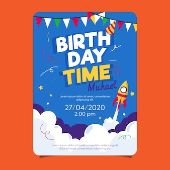 Children's birthday card template with rocket