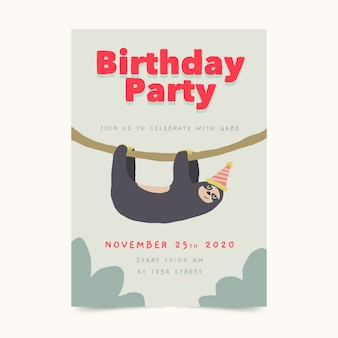 Children's birthday card template with sloth