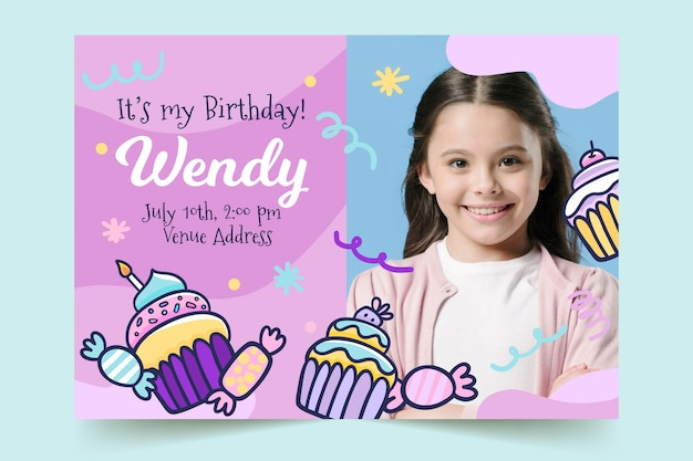 Children's birthday card template with sweets