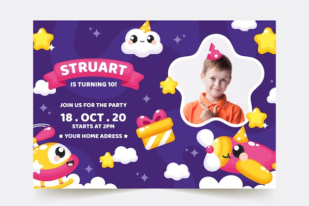 Children's birthday card template