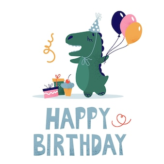 Детская поздравительная открытка с динозавром в праздничной шапке. дино с воздушным шаром, подарками и тортом.