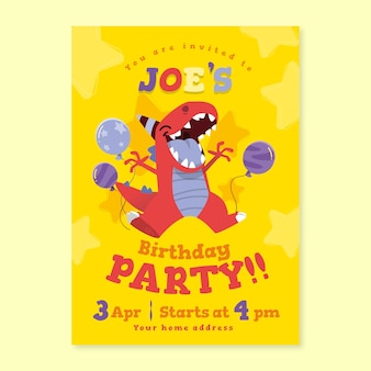 Children's birthday card with dinosaur