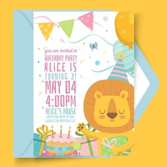 Children's birthday card with illustrations