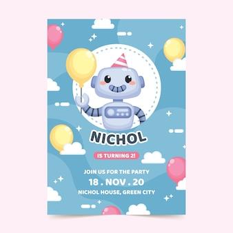 ロボットと子供の誕生日カード