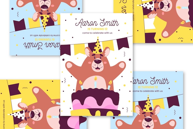 Children's birthday card with with happy bear