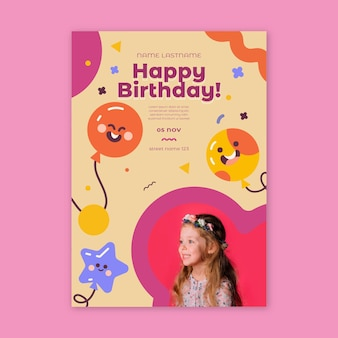 Children's birthday flyer vertical