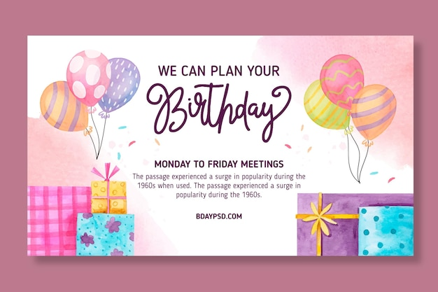 Children's birthday horizontal banner template