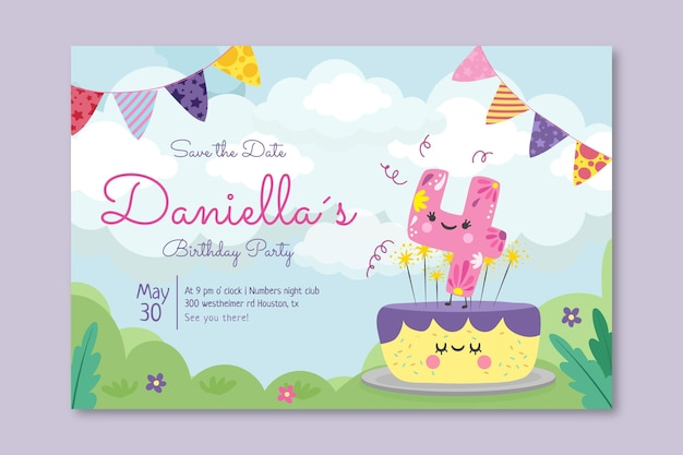 Children's birthday horizontal banner template