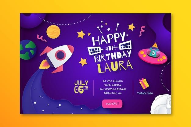 Modello di banner orizzontale per il compleanno dei bambini Vettore gratuito