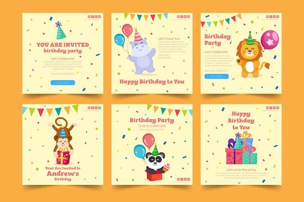 Children's birthday instagram post template