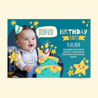 Children's birthday invitation card with photo
