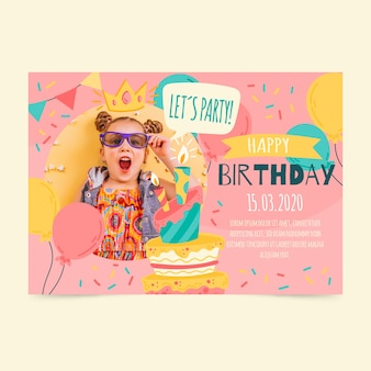 Children's birthday invitation card with photo
