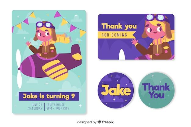 Children's birthday invitation template for a boy