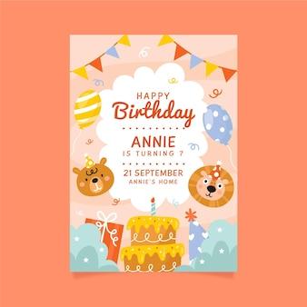 Children's birthday invitation template with animals