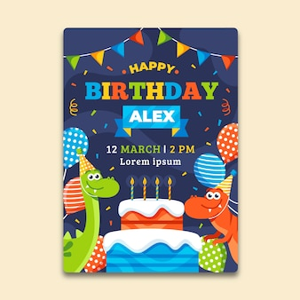 Children's birthday invitation template with balloons and dinosaurs