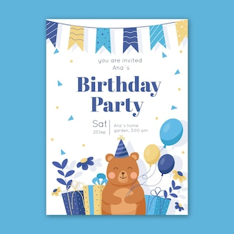 Children's birthday invitation template with bear and balloons
