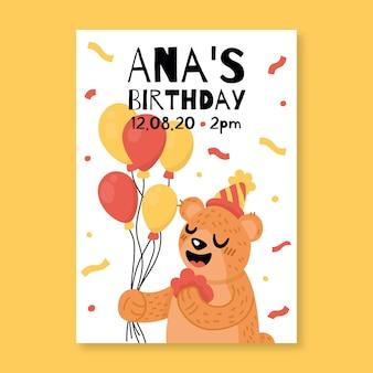Modello dell'invito di compleanno dei bambini con l'orso