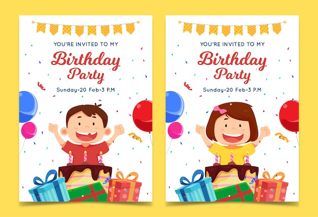 Children's birthday invitation template with boy and girl characters