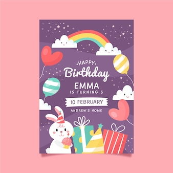 Children's birthday invitation template with bunny and rainbow