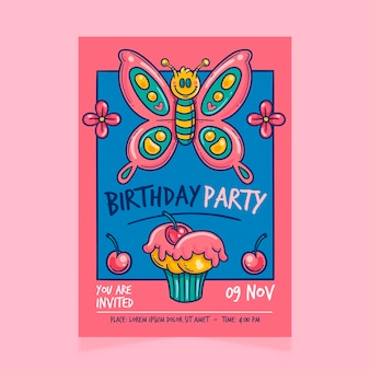 Children's birthday invitation template with butterfly