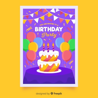 Children's birthday invitation template with cake and balloons