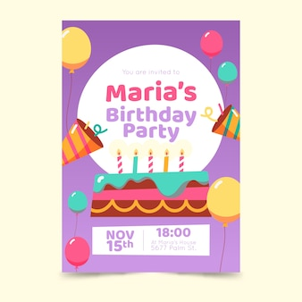 Children's birthday invitation template with cake