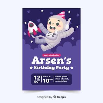 Children's birthday invitation template with cartoon