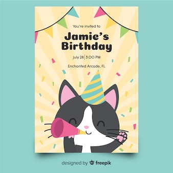 Children's birthday invitation template with cat