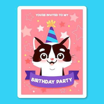 Детский шаблон приглашения дня рождения с кошкой