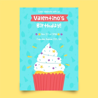Children's birthday invitation template with cupcake