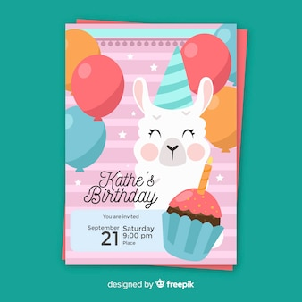 Children's birthday invitation template with cute cartoon
