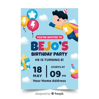 Children's birthday invitation template with date and time