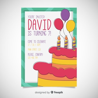 Children's birthday invitation template with delicious cake