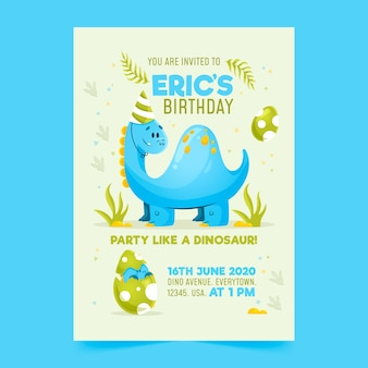 Children's birthday invitation template with dinosaur