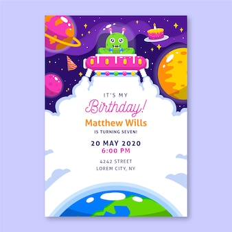Children's birthday invitation template with illustrations