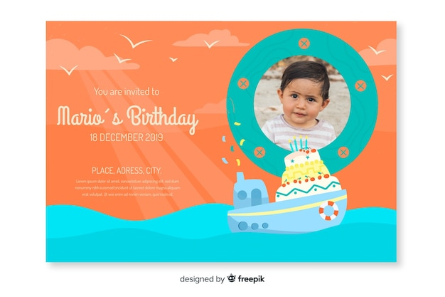 Children's birthday invitation template with image