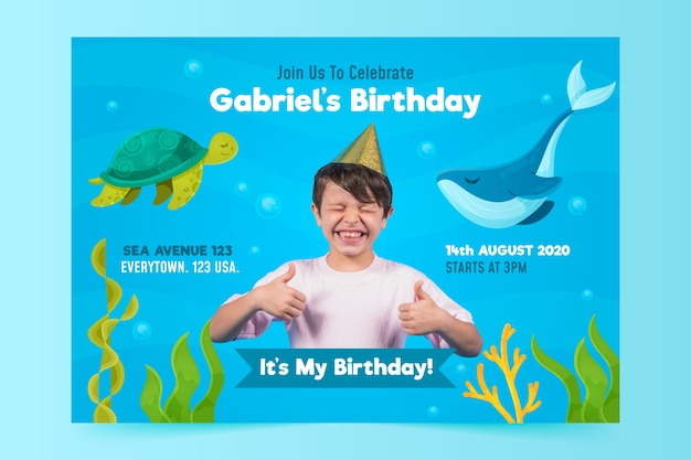 Children's birthday invitation template with image