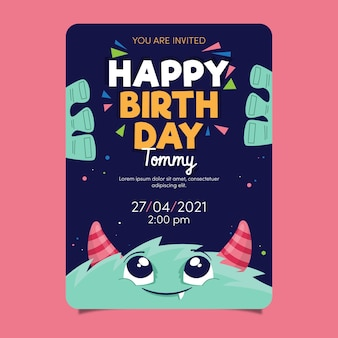 Children's birthday invitation template with monster