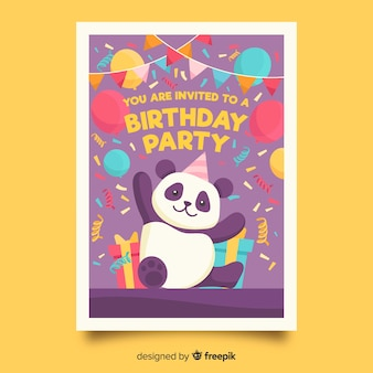 Children's birthday invitation template with panda bear