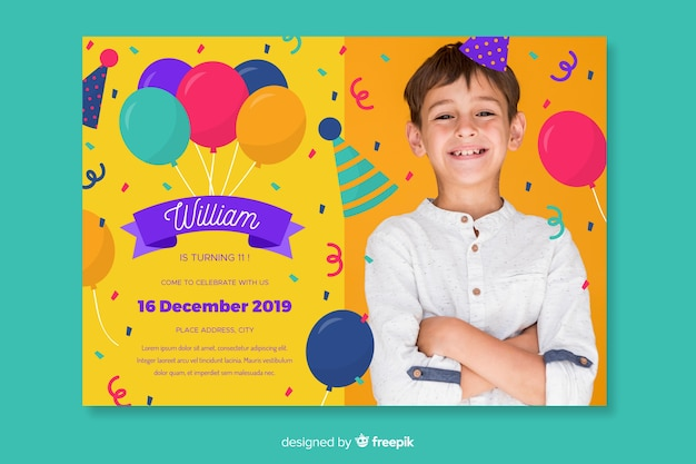 Children's birthday invitation template with photo