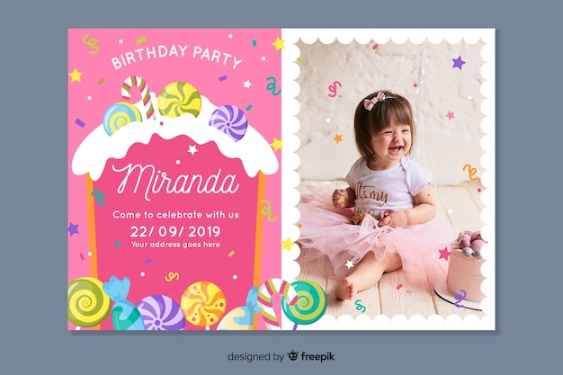 Children's birthday invitation template with photo