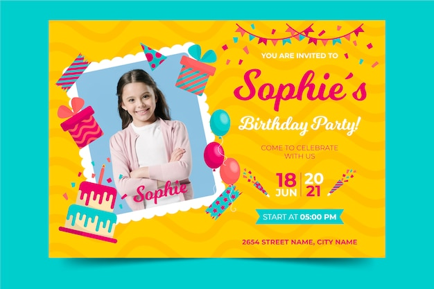 Children's birthday invitation template with presents and balloons
