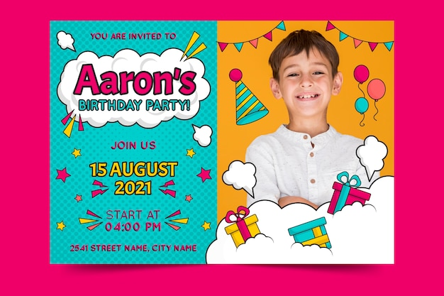 Modello di invito di compleanno per bambini con regali