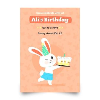 토끼와 어린이 생일 초대장 템플릿