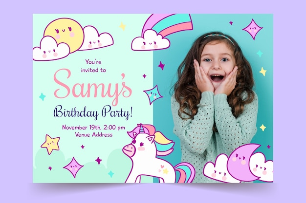 Children's birthday invitation template with rainbows and unicorns