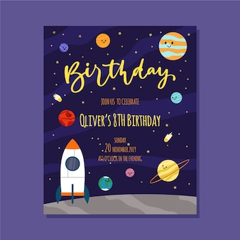 Children's birthday invitation template with space