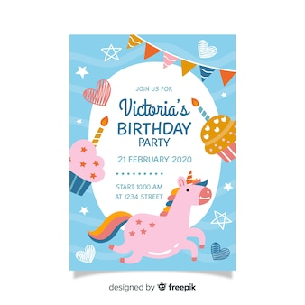 Children's birthday invitation template with unicorn