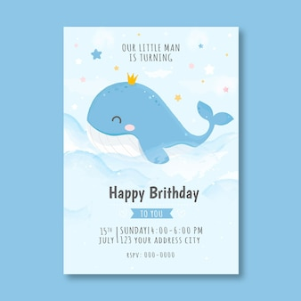 Children's birthday invitation template with whale