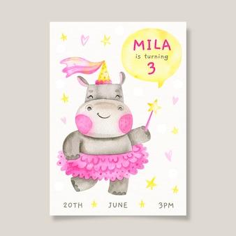 Invito di compleanno per bambini con ippopotamo
