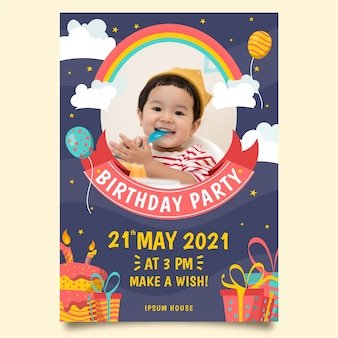 Children's birthday invitation with photo